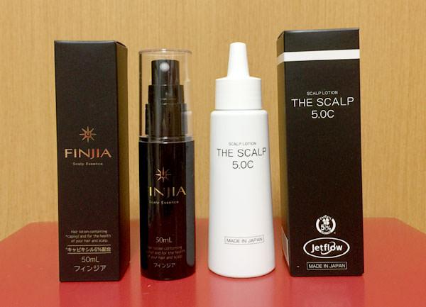 育毛剤フィンジアと美彩の育毛剤「ザ・スカルプ5.0C」の大きさ比較